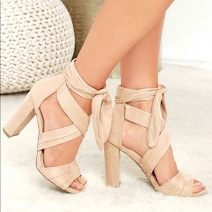 Shoes - Lulus beat of my heart natural suede lace up heels